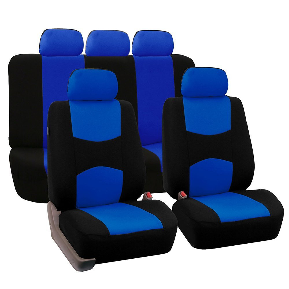9pcs/Set Blue Car Full Seat Covers Front Rear Cushion Vehicles Accessories With Backrest Headrest Cover Polyester Universal
