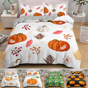 Cartoon Pumpkin Printed 2/3Pcs Cotton Duvet Cover and Pillow Case Bedding Sets EU/US/AU/UK Single Twin Full Queen King Size