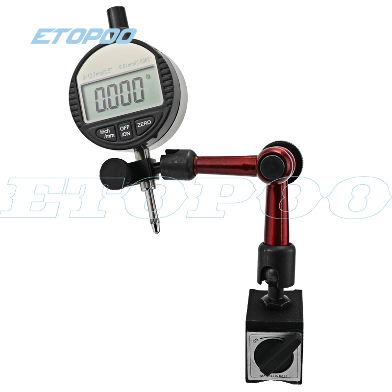 """0-25.4mm 1 """"Digital Dial Indicator 0-12.7mm/0.5 Com 0.01 milímetros Mini Base Magnética Titular Calibre Caliper Ferramentas De Medição"""