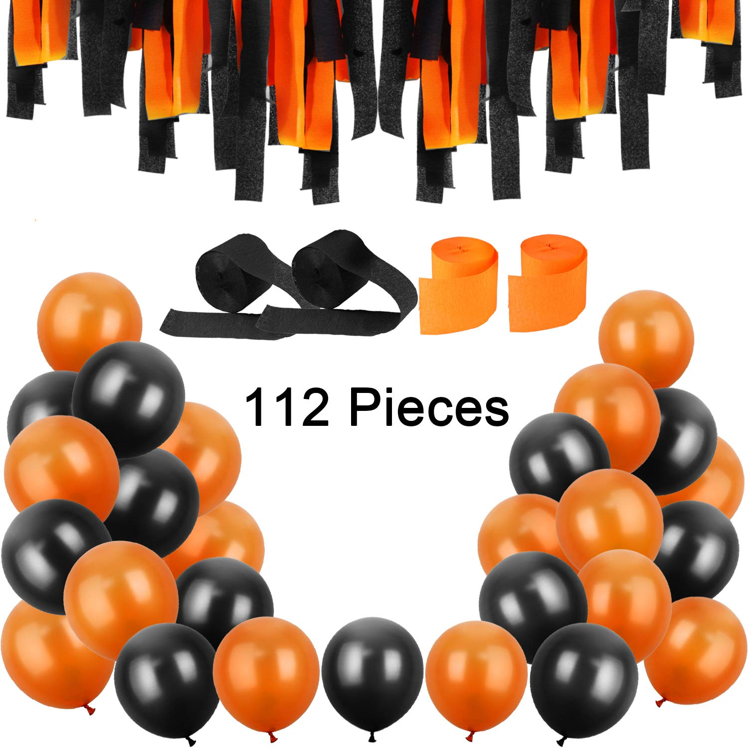 METABLE 100PCS 12 Inches Latex Balloons and Rolls Crepe Streamers for Halloween Decorations Party Supplies,Orange Black