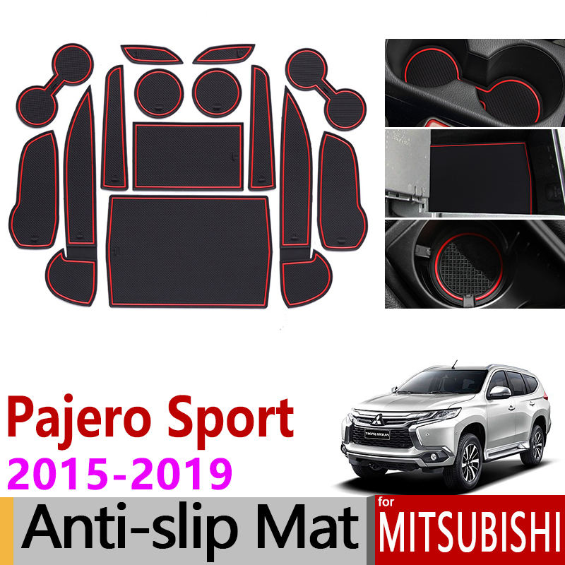 Anti-Slip Gate Slot Mat Rubber Cup Mats For Mitsubishi Pajero Sport 2015 2016 2017 2018 2019 Montero Shogun Accessories Stickers