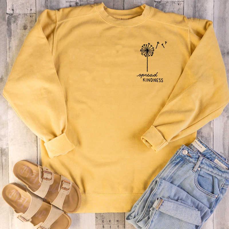 Örtüsü iyilik karahindiba cep baskılı tişörtü kadın estetik rahat kazak Vegan Crewneck kız jumper damla nakliye