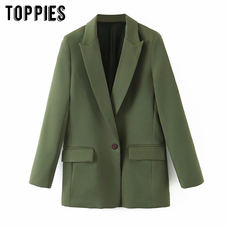 2020 Fashion Green Blazer Women Single Button Suit Jacket Coat Notched Collar Ladies Formal Blazer