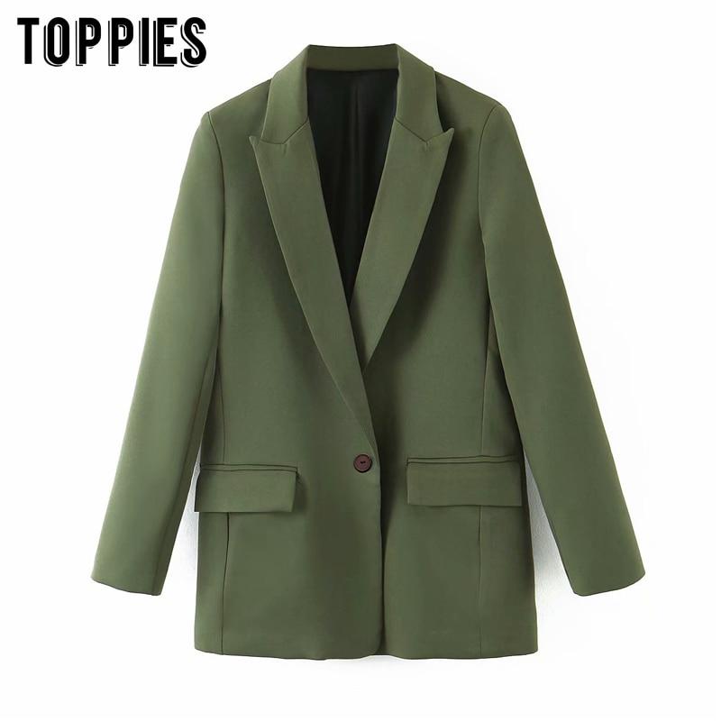 2020 Fashion Green Blazer Women Single Button Suit Jacket Coat Notched Collar Ladies Formal Blazer