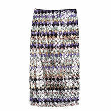 women sequined maid skirts autumn striped glitter female skirt high waist elegant sexy falda mujer moda 2020 casual ropa(China)