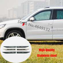 For Volkswagen Tiguan L MK2 2009 - 2020 Stainless steel car styling accessories-Car Side Badge Fender Emblem Sticker Trim Cover цена и фото