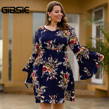 GIBSIE Flare Long Sleeve V-neck Tunic Women Dress Autumn Floral Print High Waist Casual Plus Size Knee Length Mid A-line Dress