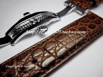 New Handmade Crocodile Leather Strap for IWC Genuine Leather Strap Portuguese 7 Portofino Pilot Series Watch Strap Black Brown