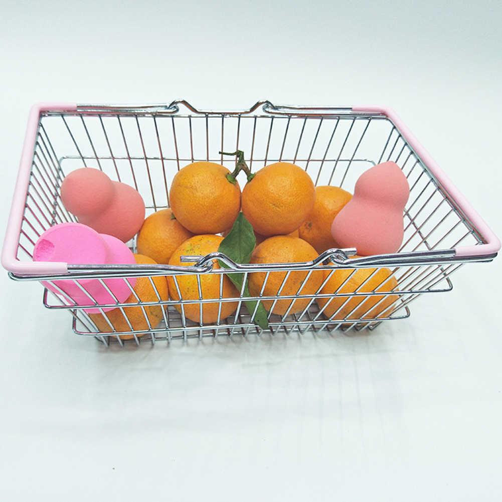 Anak-anak Berpura-pura Mainan Miniatur Logam Simulasi Supermarket Belanja Keranjang Penyimpanan Desktop Hadiah Mainan Rumah Boneka Aksesoris Perabot