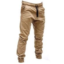 Men Sweatpants Autumn Slacks Polyester Casual Elastic Joggings Sport Solid Baggy Pockets Trousers pantalones hombre W620 Hot