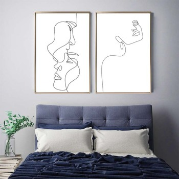 Streszczenie Lady Line obraz ścienny na płótnie Nordic Wall Art rysunek ciała plakaty i druki nowoczesny minimalistyczny wystrój salonu tanie i dobre opinie HoozGee CN (pochodzenie) Wydruki na płótnie Pojedyncze PŁÓTNO Wodoodporny tusz Obraz z postacią bez ramki abstrakcyjne