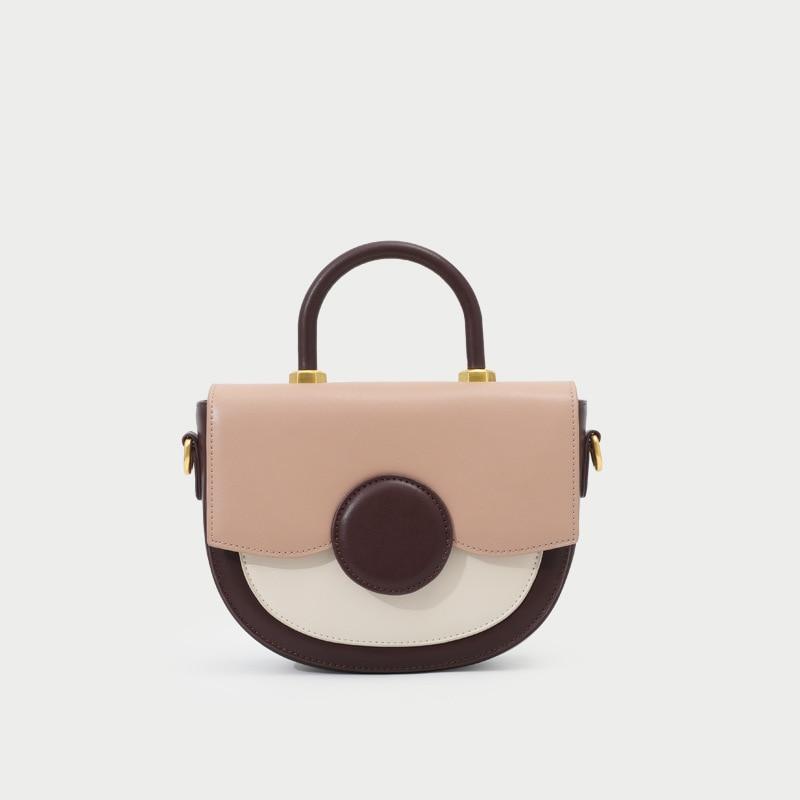 French niche bag women 2019 new color matching saddle bag shoulder portable shoulder bag fashion small round bag