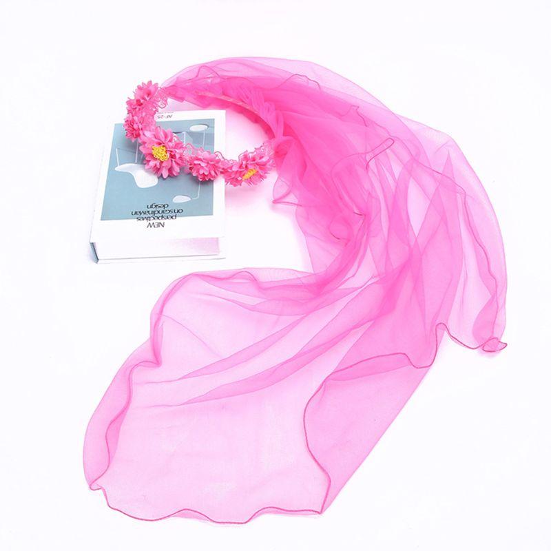 Child Girls Mesh Veil Wedding Hairband Contrast Color Simulation Daisy Flower Wreath Crown Stage Performance Headband Photo Prop