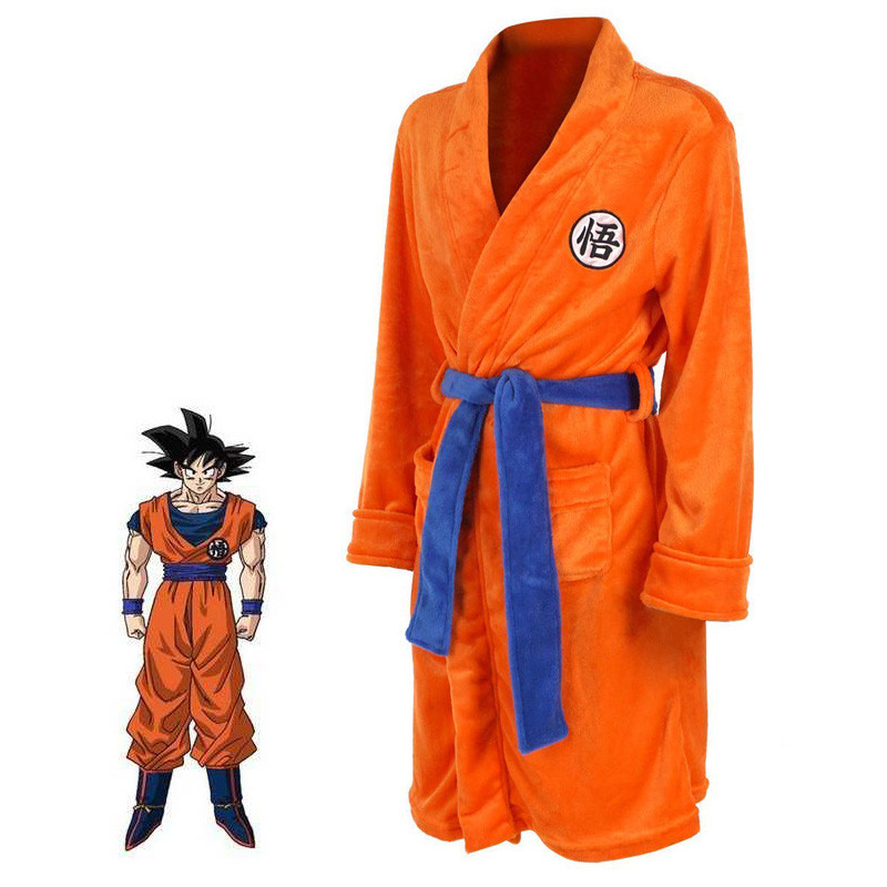Anime Dragon Ball Thermal Flannel Bathrobe Autumn Winter Men Women Cosplay Pajamas Goku Thick Kimono Robe Costumes Dressing Gown