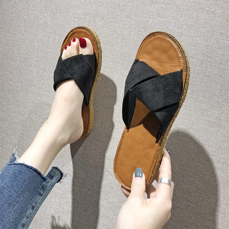 Women Open Toe Slippers Female Casual Solid Shoes Ladies Non-slip Fashion Flats Woman Comfortable Outside Summer Beach Footwear