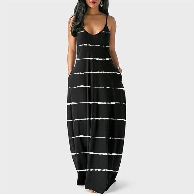 Loose Sexy Long Dress Women Strap Fashion Women's Loose Casual Summer Striped Print Pocket Sling Sleeveless Dress Summer