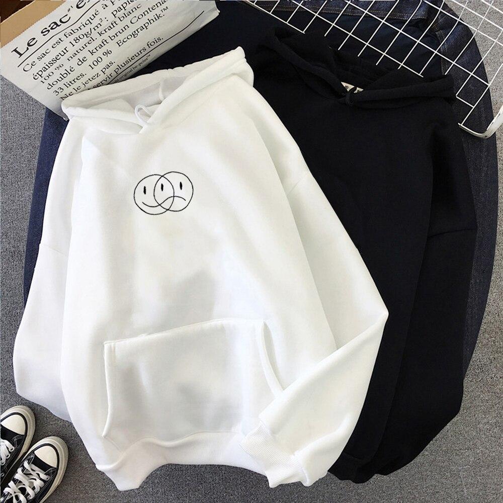 Корейская уличная Толстовка для мужчин и женщин, Повседневный пуловер в стиле хип хоп, с длинным рукавом, с принтом смайлика и лица, спортивная одежда, топы Толстовки и свитшоты      АлиЭкспресс