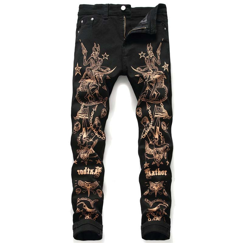 Hip Hop Men's Fashion Painted Denim Trousers Letter Printed Streetwear Jeans Pants Male NightClub Wear