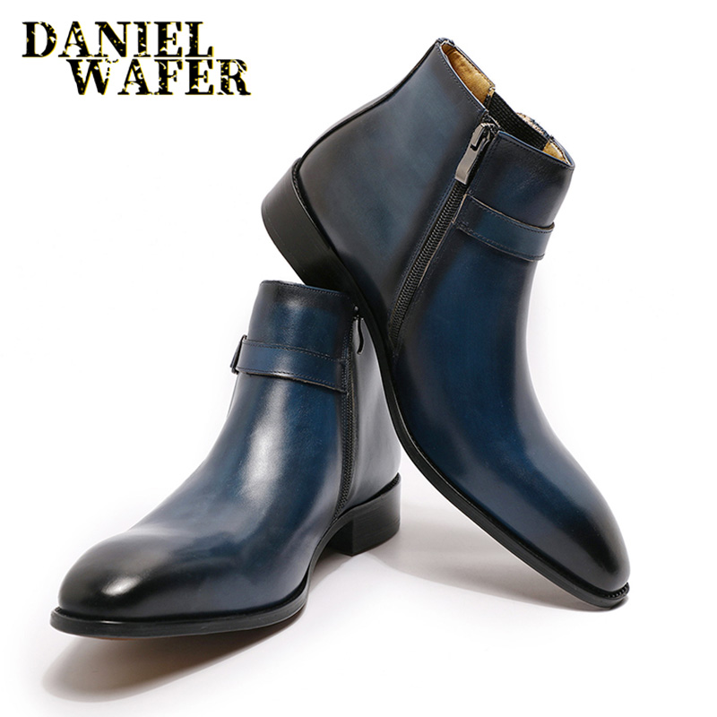 FASHION LUXURY DESIGN GENUINE LEATHER MEN ANKLE BOOTS HIGH GRADE TOP ZIP BUCKLE STRAP MEN DRESS SHOES BLACK BLUE BASIC BOOTS MEN