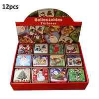 12 pièces noël cadeau boîte bonbons emballage cadeaux pour enfants petite boîte étain Biscuit emballage cadeau boîte de noël décoration artisanat