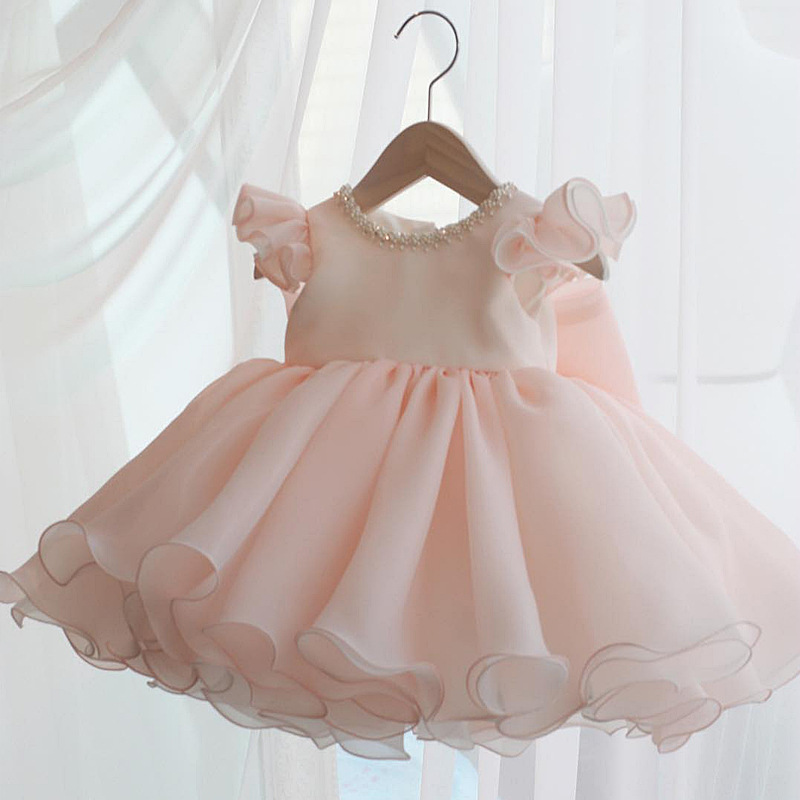 2020 Pink Chlid Dress Beading First Birthday Dress For Baby Girl Ceremony Ball Gown Bow Princess Dress Party  Dresses 1-8 Years