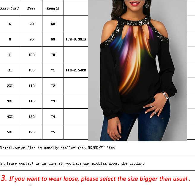 Baru Wanita Lengan Panjang Atasan Kasual Wanita Longgar Off Bahu Blus Plus Ukuran Top Spring Fashion Wanita Blus
