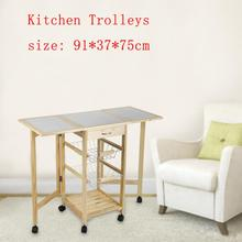 Solid Pine Kitchen Trolley Moveable Dining Shelf Food Beverage Storage Rack Organizer Kitchen Cabinet With 2 Drawers Baskets HWC