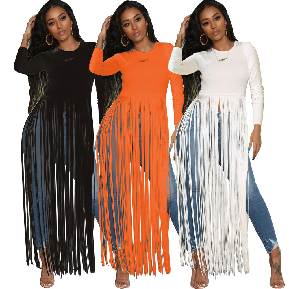 Autumn New Women Tassel Long Sleeve Tee Shirts <font><b>Dress</b></font> Solid Hem Splicing <font><b>Sexy</b></font> Maxi <font><b>Dress</b></font> Black White <font><b>Orange</b></font> image