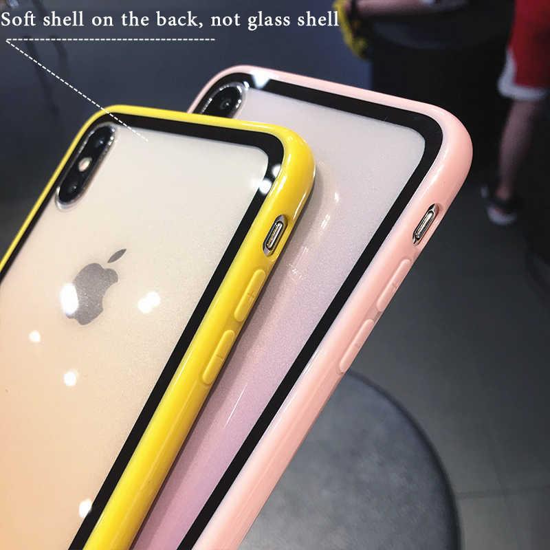 Dégradé arc-en-ciel En Silicone Souple Antichoc étui pour iphone 11 XS Max XS 6 6s 7 8 Plus Acrylique Transparent Housse De Protection
