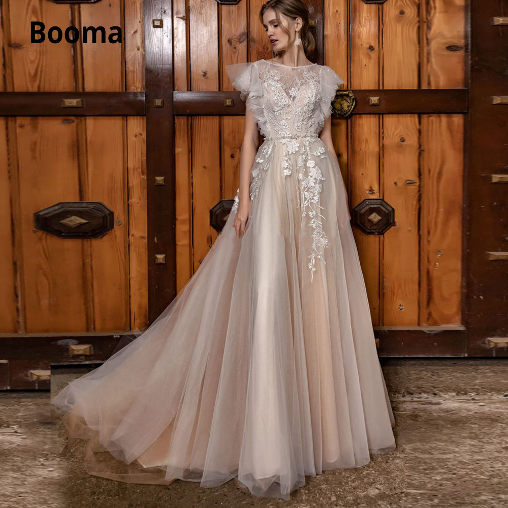 Booma Blush Wedding Dresses Lace Appliques Tulle Sleeveless Boho Bridal Wedding Gowns Beach Pearls Vestido De Noiva Plus Size