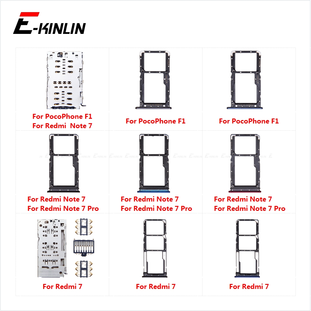 Sim Card Tray Socket Slot Reader Adapter For XiaoMi Redmi 7 Note 7 Pro PocoPhone F1 Micro SD Card Holder Connector Container