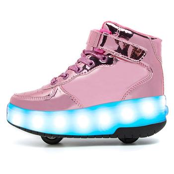 Dzieci buty rolki z Led Light ue 30-37 dzieci dwa koła USB ładowania świecące trampki dla chłopców dziewcząt tanie i dobre opinie AGUUI 25-36m Skórzane CN (pochodzenie) CZTERY PORY ROKU Lekkie Damsko-męskie Buty casualowe RUBBER latex Dobrze pasuje do rozmiaru wybierz swój normalny rozmiar