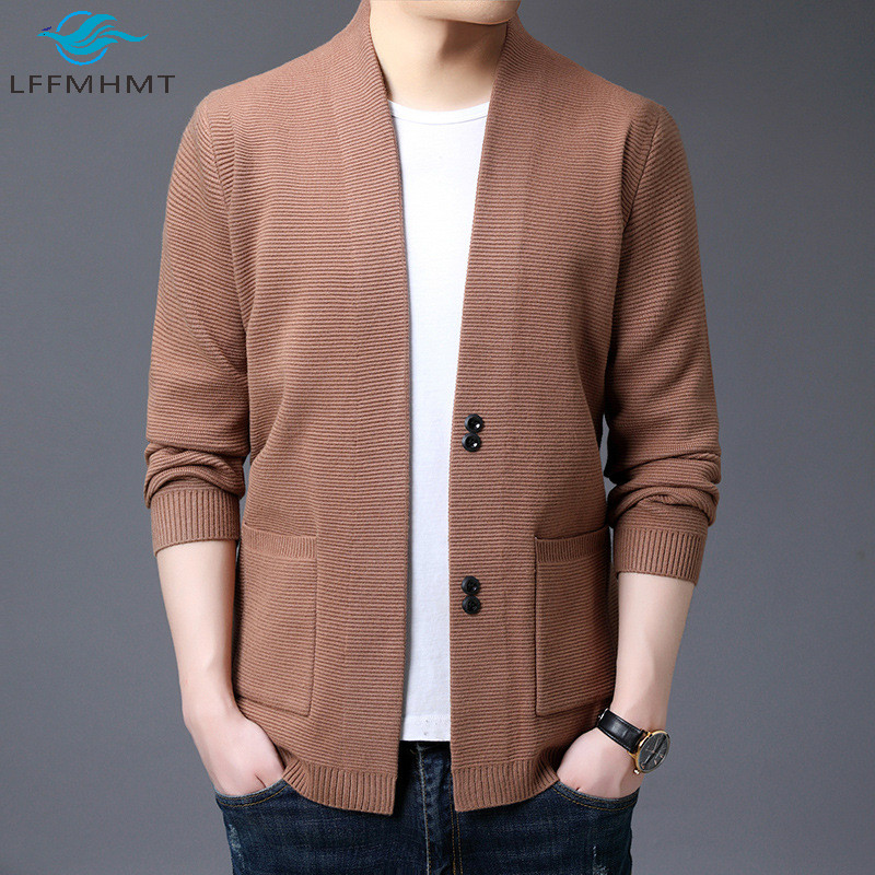 Men Spring Autumn Fashion Solid Color V-neck Long Sleeve Knit Sweater Male Japan Style High Quality Casual Simple Thin Cardigan