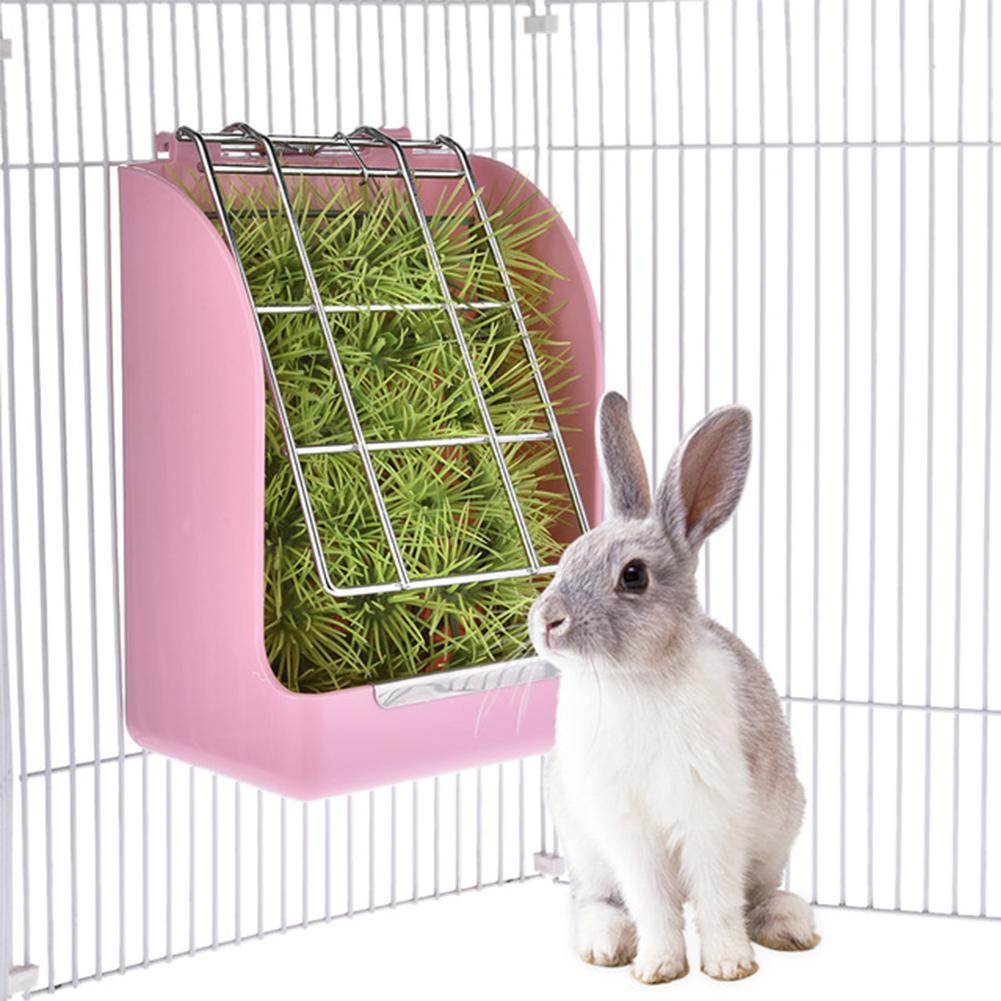 New arrival Rabbit Grass Feeder Spring Straw Frame Grass Basket Small Pet Guinea Pig Cage Accessories Fixed Food Container Bowl
