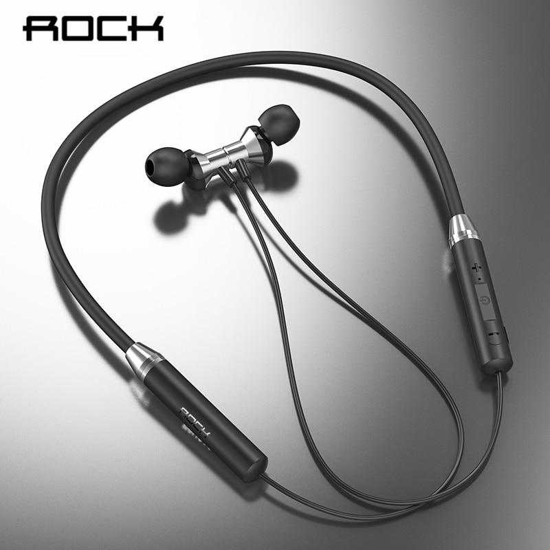 ROCK Magnetic Wireless Bluetooth Earphones Neckband in ear Sports Stereo Headset Handsfree Waterproof Earbuds With Mic|Bluetooth Earphones & Headphones|   - AliExpress