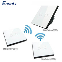 Esooli EU Standard Luxury Crystal Glass Wall Switch Touch Switch Normal 1 Gang 2 Gang Stick Touch Switch led switch