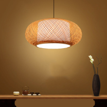 Chinese Hand Knitted Bamboo Rattan Pendant Lights Rustic Tatami Led Hanging Lamp Interior Decoration Homestay Luminaria Lighting