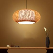 Chinese Hand Knitted Bamboo Rattan Pendant Lights Rustic Tatami Led Hanging Lamp Interior Decoration Homestay Luminaria Lighting