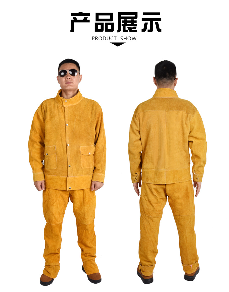 Cowhide Welding Work Clothes Argon Arc Welding Long Sleeve Protective Clothing Anti Arc Spatter Welder Leather Pants