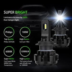 Image 2 - Zdatt H7 LED Canbus Lampadas H1 H4 H8 H9 H11 Car Headlight Bulbs Ice Lamps 6000K 100W 12000LM 12V Automobiles Foglights
