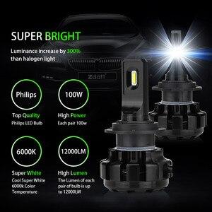 Image 2 - Zdatt h7 led canbus lampadas h1 h4 h8 h9 h11 lâmpadas de farol do carro lâmpadas gelo 6000k 100w 12000lm 12v automóveis foglights