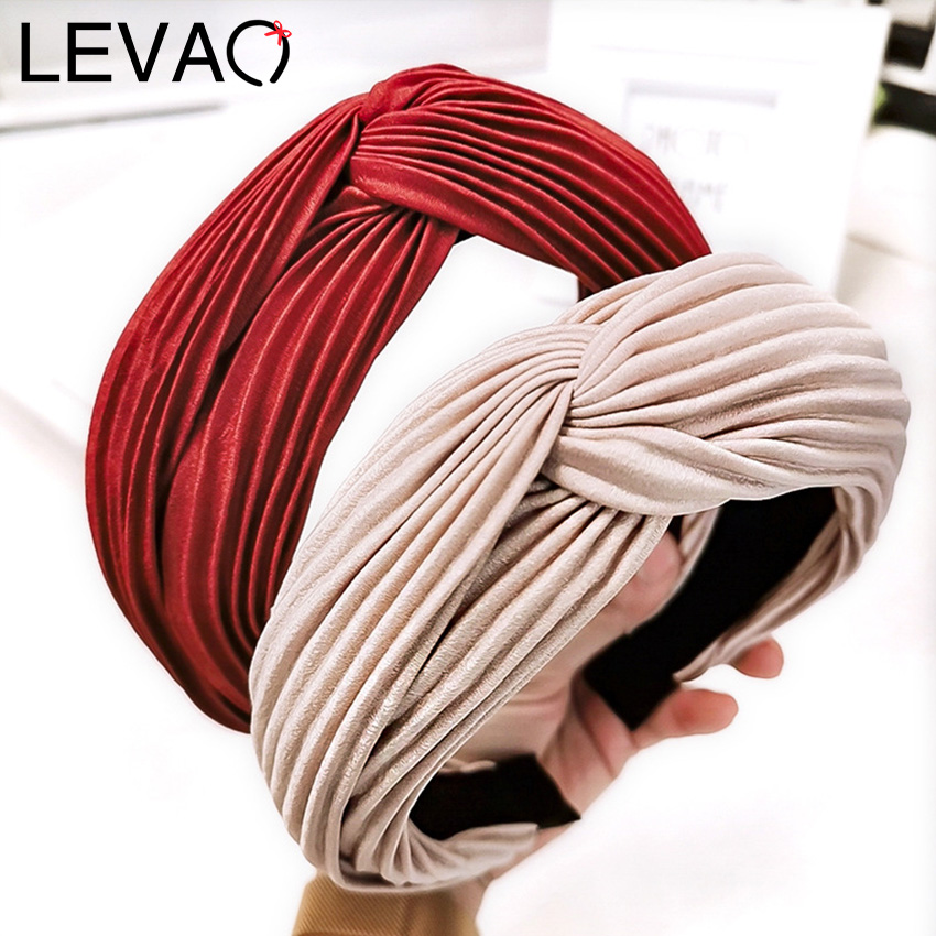 Levao Headband In Plisse With Knot Women Winter Black Cross Knot Head Wrap Elastic Hair Hoop Wide Plated Headdress
