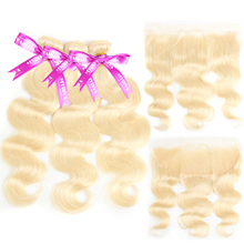 613 Bundles With Frontal Brazilian Blonde Body Wave Human Hair Baby Ear To Honey Remy
