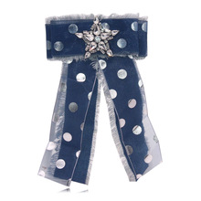 Fashion Women Men Bow Brooches Long Corsage Ribbon Big Crystal Bow-knot Shirt's Bow Tie Pins Collar Accessories Brooch Jewelry fashion women ribbon brooches college black white stripe big brand red bee brooch pins for school girl corsage collar jewelry