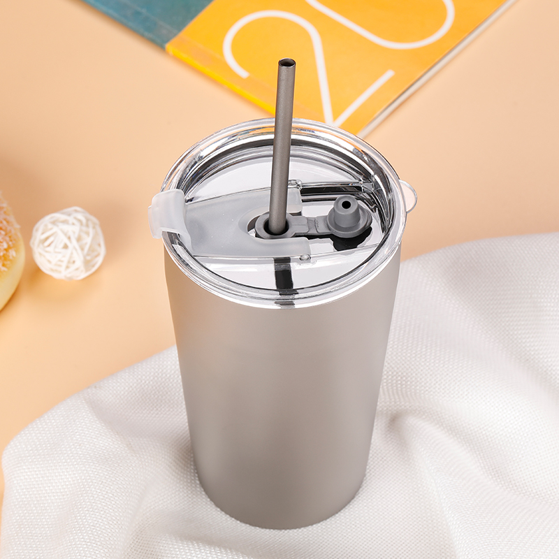 Tiartisan 500ml Double layer titanium coffee cup titanium mug with free titanium straw for beverage juice water wine