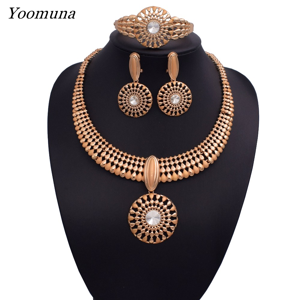 2019 Fashion Luxury dubai jewellery sets african Wedding Bridal Jewelry Sets necklace jewellery sets for women