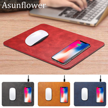 лучшая цена Asunflower Wireless Charger Fast Charging Mouse Mat Pad Laptop Mouse Pad Wireless Charger For Samsung Galaxy S8 Plus S9 MousePad