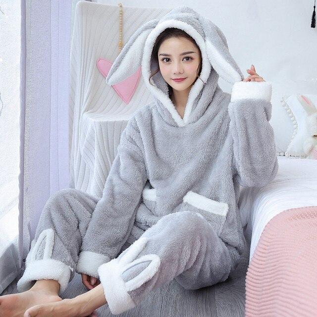 2020 hiver flanelle dames dessin animé imprimé pyjamas peuvent être portés en dehors des pyjamas 2 ensembles de corail polaire à capuche col vêtements de maison