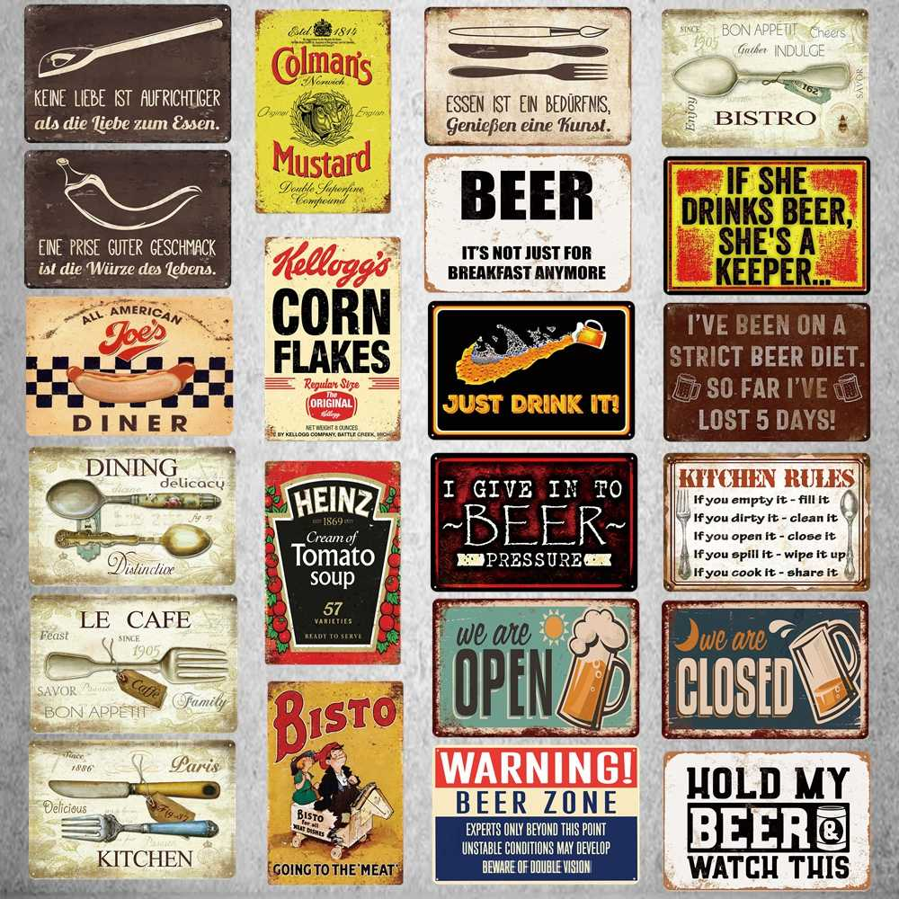 Kitchen Rules Tin Sign Plaque Metal Vintage Dinner Poster Wall Bar