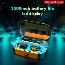 2020 새로운 3500mah 블루투스 V5.0 이어폰 LED 무선 헤드폰 헤드셋 이어 버드 TWS 방수 스포츠 이어폰 헤드폰